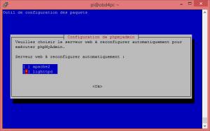 Écran de sélection du serveur à configurer